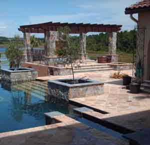 natural stone paver combinations on a pool deck